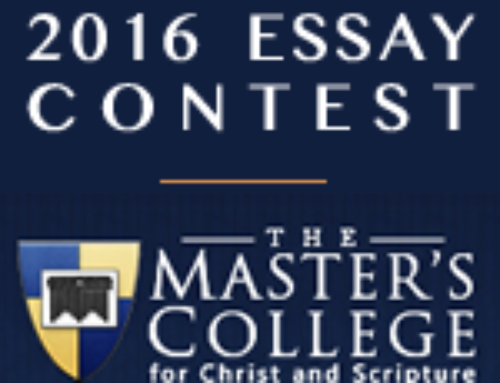 Congratulations James Ingoldsby – Winner of The Master's College Essay Contest 2016